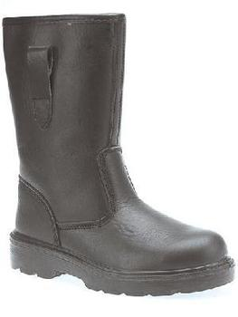 Black Leather Fur Lined Rigger Boots With Steel Toe And