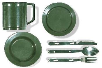 KFS Plate Bowl and cup set Olive Green Army Style Plate, Bowl & Cutlery Set
