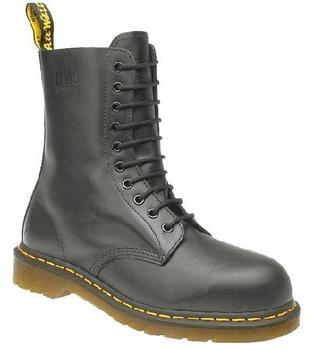 Dr Martens Airwair 10 Eyelet Safety Toe Cap Black Leather Boots (DM398A)