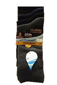 Socks, Cottton Pack of 3 mens Cotton rich Classic socks with Purista