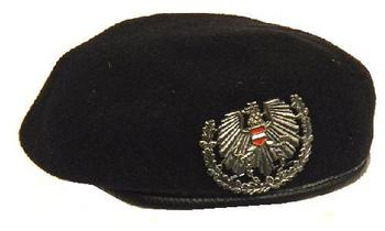 Austrian Military Issue Black beret complete with Badge - Genuine Issue