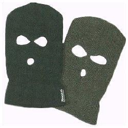 Warm Thinsulate Lined 3 Hole Balaclava in Green Or Black