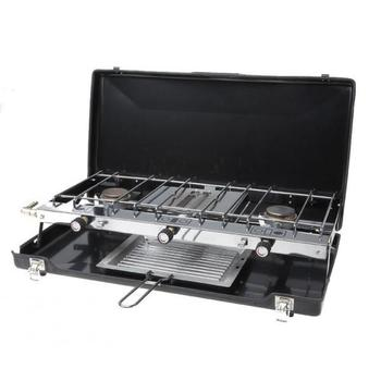 Double Burner and Grill, Black Fold Out Camping Cooker / Stove