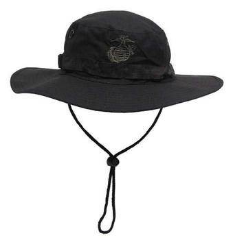 1b4a88b395300 Black USMC Marine Corps Tropical Boonie Hat with Wide Brim