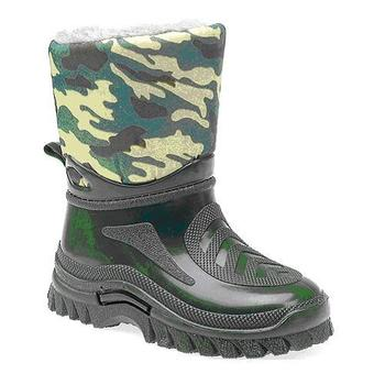 Childrens, Warm Fleece Lined Army Woodland Camo Wellies (W209E)