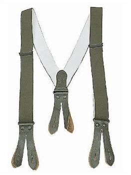 Braces Olive Green Leather End Button Fastening As New & Used Genuine Army Issue