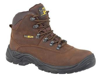 Grafters Dark Brown Hiker Style Steel Toe Safety Boot with Steel Midsole (M216B)