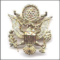 WWII Style Gold Colour Gilt Metal Finish U.S. Cap Badge