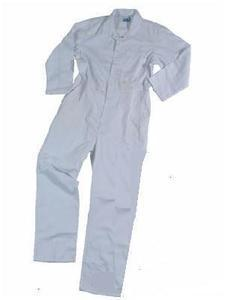 White Boiler Suit Poly Cotton Boilersuit Coverall With presstud front, New