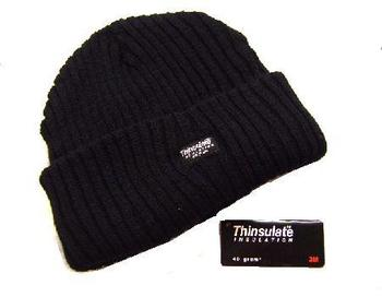 Black Warm Thinsulate Lined Wide Chunky Knit Danny Hat