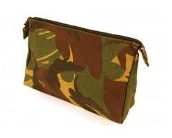 Genuine Dutch Military - Tough Camouflage or Olive Zipped Wash Bag