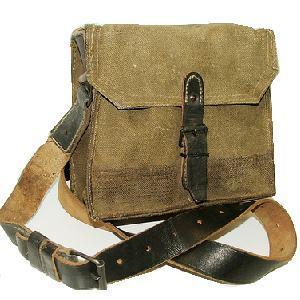 WWII Style French ammo pouch with leather strap, Used Graded