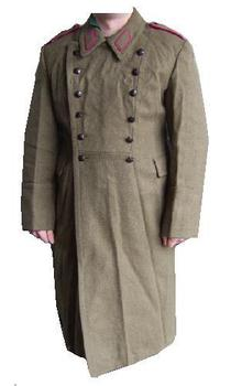Long Great Coat khaki military issue greatcoat with epaulettes Warsaw Pact