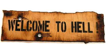 Welcome to Hell wooden sign Great for Kids Messy Dens