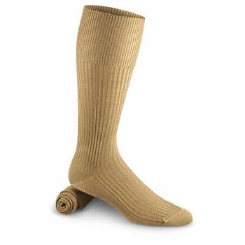 Khaki Dress Socks Italian Military Issue Cotton Calf length Sock, New