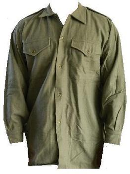 British Shirt WWII Style olive Worsted Wooly  - used