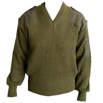 Jumper Pullover New V neck Italian Olive Green Military Issue Jumper