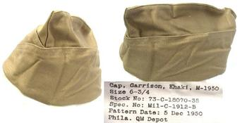 Side Hat WWII 1940's Style US Army  Khaki Garrison Side Cap 1950`s dated ~ Used