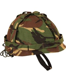 M1 Plastic Helmet with Woodland DPM Camo Cover Adjustable for kids or Adults