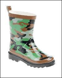 New Childrens Camouflage Print Rubber Wellingtons (W208E)