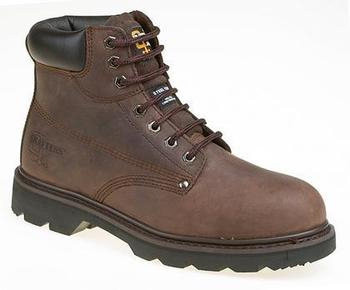 Dark Brown Leather Safety Boot With Steel Midsole