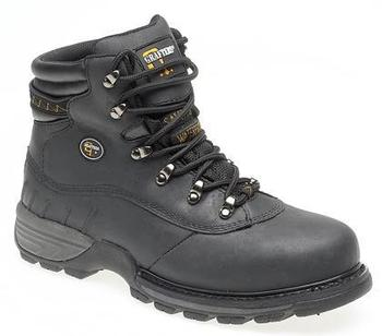 Water Resistant Safety Boots, Lightweight Black Waxy Leather Waterproof Lined Hiker Style Boot (M139A)