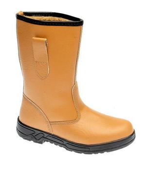 Tan Leather Fur Lined Internal Safety Toe Cap Rigger Boot (M20B)