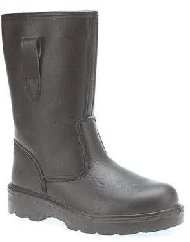 Black Leather Hardwearing Textile Lined Safety Rigger Boot (M21A)