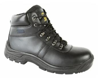 Water Resistant Safety Boots, Grafters Technician Black Leather Safety Toe Cap Boot (M602A)