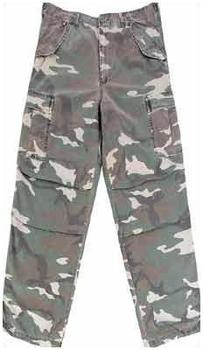 M65 Washed Combat Trousers, Woodland Camo M65 Style Combats