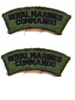Royal Marines Commando Shoulder Title Badge Set, Used
