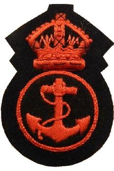 WWII Style Royal Navy Petty Officer Cloth Cap badge (red)