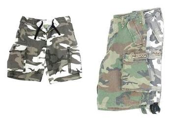 Para Shorts, Heavy Weight Pre Washed Paratrooper Shorts In Woodland and Urban