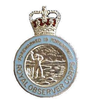 Queens Crown Royal Observer Corps Button Hole Pin Badge