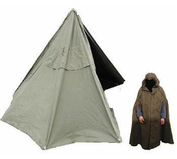 Teepee Tent, Military Canvas Polish Army Lavvu Tipi Tent / Poncho Cape