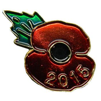 Poppy Badge 2015 Remembrance pin badge 2015 dated ~ New