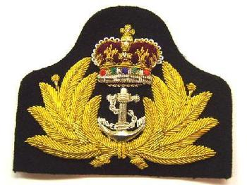 Gold Wire Queens Crown Officers Royal Navy Cap badge