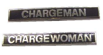 Genuine Black Enamel Railway Chargeman and Chargewoman Badge
