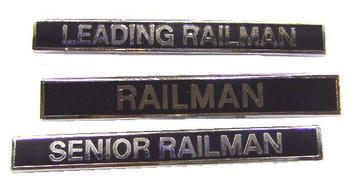 Black enamel Railman Train badges