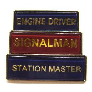 Train Badges Rectangle shaped Broach Type train job badges plastic coated