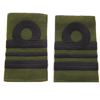 Lt Commander olive green rank slides - Pair