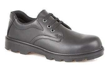 Safety Uniform Shoe Plain Black Steel Toe shoe with Steel Midsole (M361A)