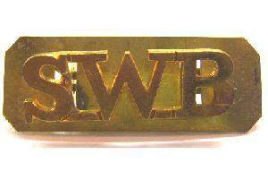Brass Shoulder Tittle of SWB - South Wales Borderers