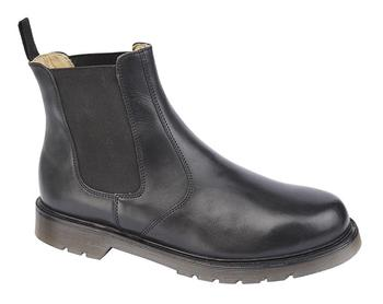 Black Leather Twin Gusset Chelsea Boot Airwair Style Dealer boot, New TF4165A