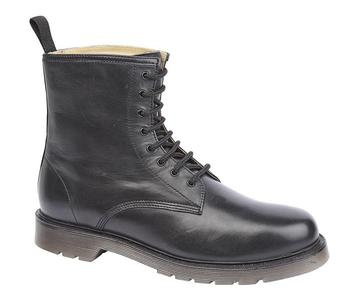 Black Leather Boots, Airwair Dr Marten Style 8 Eyelet Black Leather Boots, New TF4403A