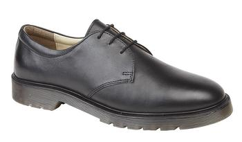 Black Leather Shoe Airwair Dr Marten Style, Supple Leather Lace up shoes, New TF5268A
