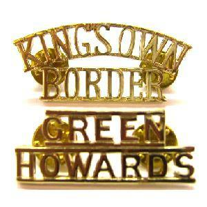 Genuine British Army staybright shoulder Titles - Green howards & Kings own border