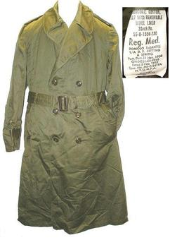 Unissued Genuine 1950`s WWII Pattern U.S. Military Issue lined Trench coat