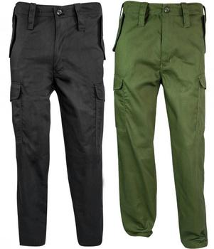 Cotton Combat Trousers, Highlander Branded US Style 6 Pocket soft feel Trousers, Black or Green