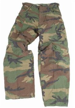 Woodland Camo Heavyweight M65 Style Pre Washed Combat Trousers
